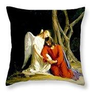 Jesus In Gethsemane Throw Pillow