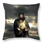 Jesus In The Clouds Throw Pillow