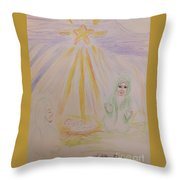 Jesus Is Born Throw Pillow