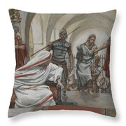 Jesus Led From Herod To Pilate Throw Pillow by Tissot
