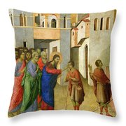 Jesus Opens The Eyes Of A Man Born Blind Throw Pillow