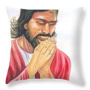 Jesus Praying Throw Pillow
