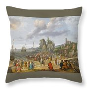 Jesus Preaching On The Shores Of The Sea Of Galilee Throw Pillow