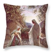 Jesus Revealing Himself To Mary Magdalene Throw Pillow by William Brassey Hole