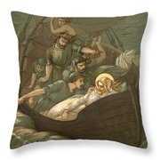 Jesus Sleeping During The Storm Throw Pillow by John Lawson