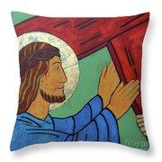 Jesus Takes Up His Cross Throw Pillow