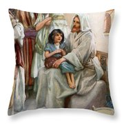 Jesus Teaching The People Throw Pillow by Arthur A Dixon