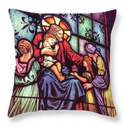 Jesus With The Children Throw Pillow