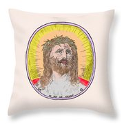 Jesus With The Crown Of Thorns Throw Pillow