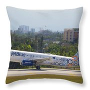 Jet Blue Blues Brothers Throw Pillow