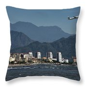 Jet Plane Taking Off From Puerto Vallarta Airport With Pacific O Throw Pillow