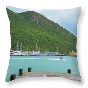 Jet Ski On The Lagoon Caribbean St Martin Throw Pillow
