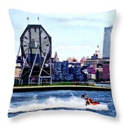 Jet Skiing By Colgate Clock Throw Pillow