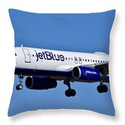 jetBlue Airlines plane in flight Throw Pillow