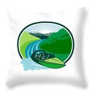 Jetboat River Canyon Mountain Oval Retro Throw Pillow