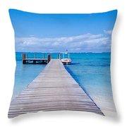 Jetty On The Beach, Mauritius Throw Pillow