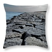 Jetty Over The Coast Throw Pillow
