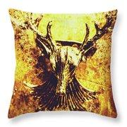 Jewel Deer Head Art Throw Pillow