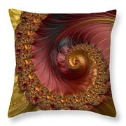 Jewel Gold  Fractal Spiral  Throw Pillow