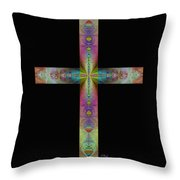Jeweled Cross On Black Throw Pillow
