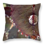 Jeweled Leaves Throw Pillow by Patricia Strand