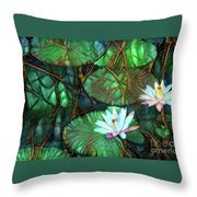 Jeweled Water Lilies Throw Pillow