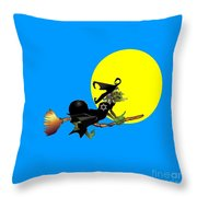 Jewish Flying Witch Throw Pillow