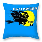 Jewish Halloween Witch Throw Pillow