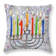 Jewish Holiday Hannukah Symbols - Menorah Throw Pillow