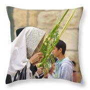 Jewish Sunrise Prayers At The Western Wall, Israel 6 Throw Pillow