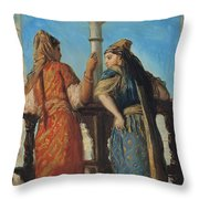 Jewish Women At The Balcony In Algiers Throw Pillow by Theodore Chasseriau