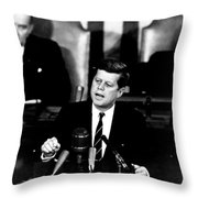 Jfk Announces Moon Landing Mission Throw Pillow by War Is Hell Store