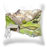 High Pastures,   Col De La Cayolle Throw Pillow