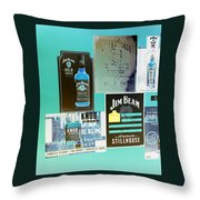 Jim Beam Signs On Display - Color Invert Throw Pillow