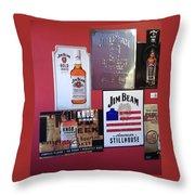 Jim Beam Signs On Display Throw Pillow