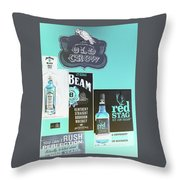 Jim Beam's Old Crow And Red Stag Signs - Color Invert Throw Pillow