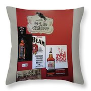 Jim Beam's Old Crow And Red Stag Signs Throw Pillow
