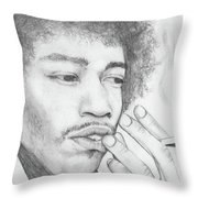 Jimi Hendrix Artwork Throw Pillow by Roly Orihuela