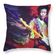 Jimi Hendrix Dissolve Throw Pillow