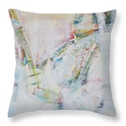 Jimi Hendrix Playing The Guitar.9 - Watercolor Portrait Throw Pillow