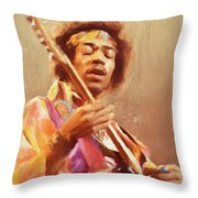 Jimi Jamming Throw Pillow