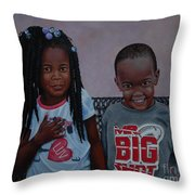 Jimia And Mr Bigshot Throw Pillow