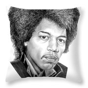 Jimmi Hendrix By Murphy Art. Elliott Throw Pillow