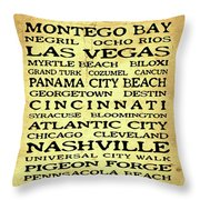 Jimmy Buffett Margaritaville Locations Black Font On Yellow Brown Texture Throw Pillow