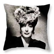 Joan Crawford, Hollywood Legend By John Springfield Throw Pillow