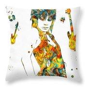 Joan Jett Colorful Paint Splatter Throw Pillow