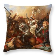 Joan Of Arc In The Battle Throw Pillow