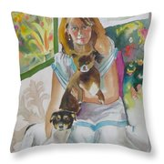 Joann And Her Pets Throw Pillow