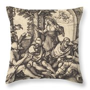 Job Conversing With His Friends Throw Pillow