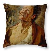 Job Throw Pillow by Jacob Jordaens